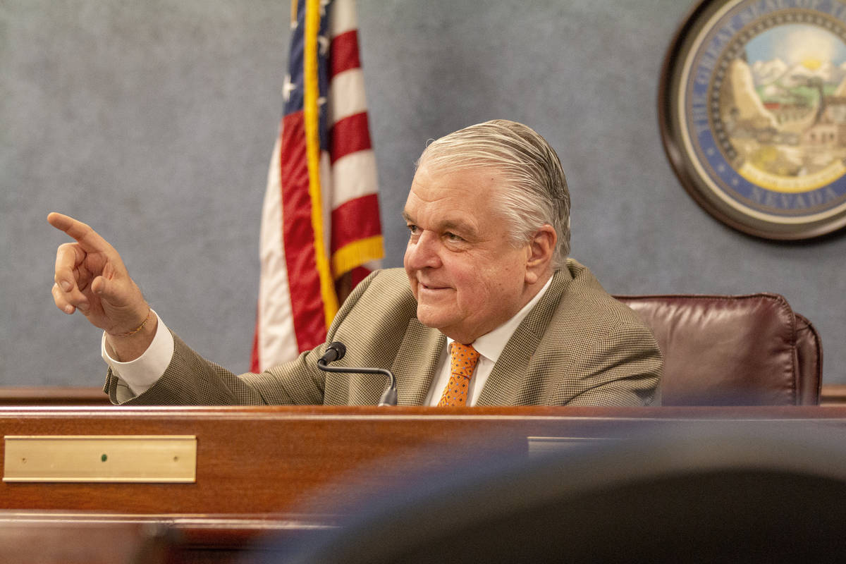Colton Lochhead/Las Vegas Review-Journal Gov. Steve Sisolak speaks during a press conference to ...