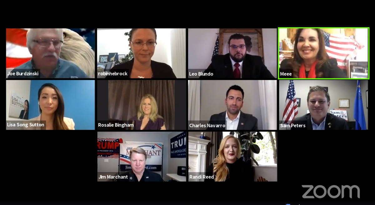 Screenshot of Zoom chat The Nye County Republican Central Committee, with involvement by the Pa ...