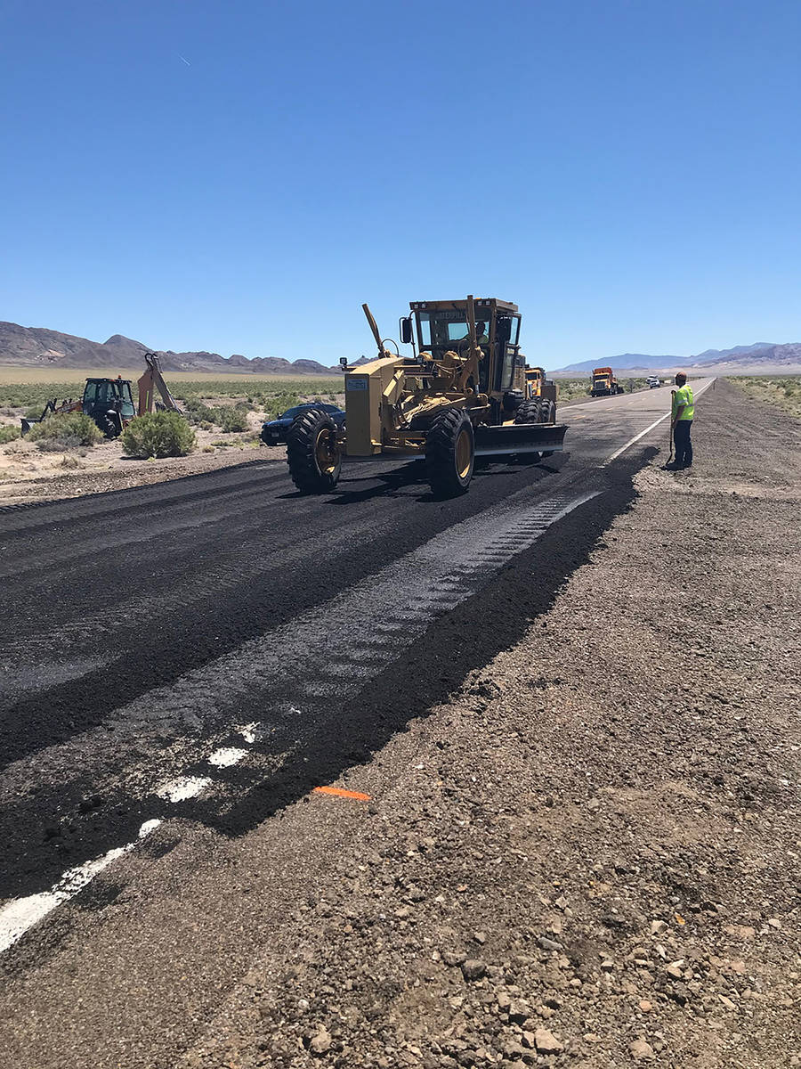 Nevada Department of Transportation Crews make emergency repairs to U.S. 95 after a May 20 eart ...