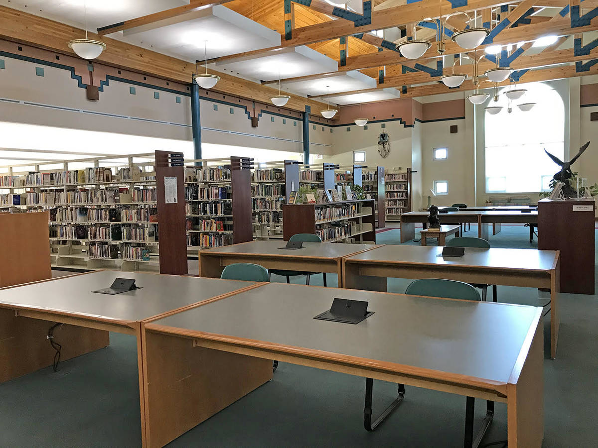 Robin Hebrock/Pahrump Valley Times The large desks in the center of the bookshelves have had ch ...