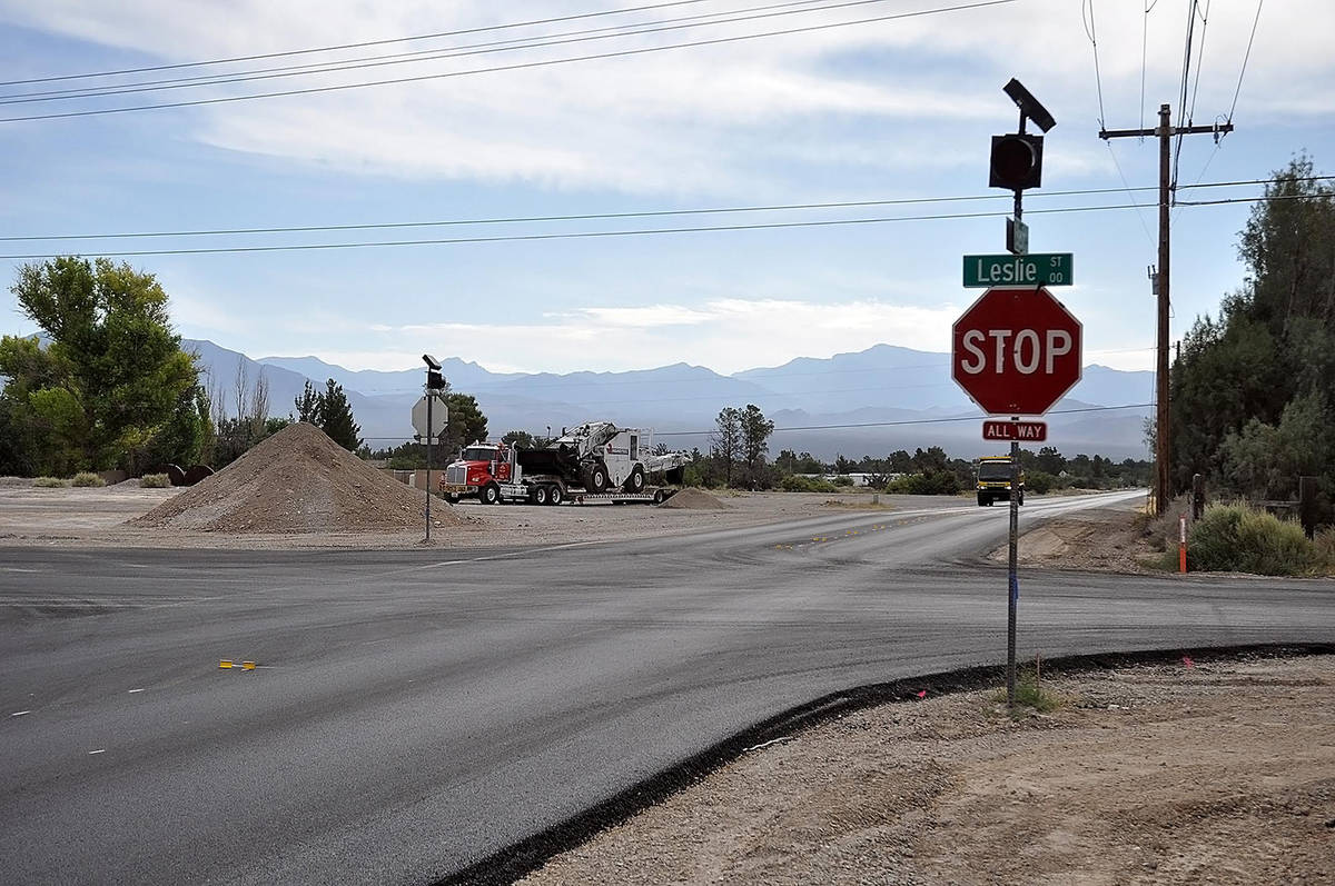 Horace Langford Jr./Pahrump Valley Times The intersection of Leslie Street and Basin Avenue is ...