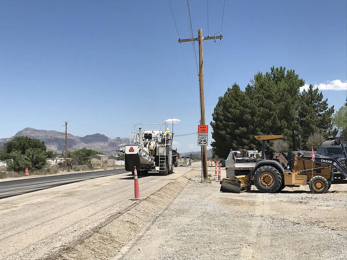 Robin Hebrock/Pahrump Valley Times Wulfenstein Construction Co. crews started the Leslie Street ...