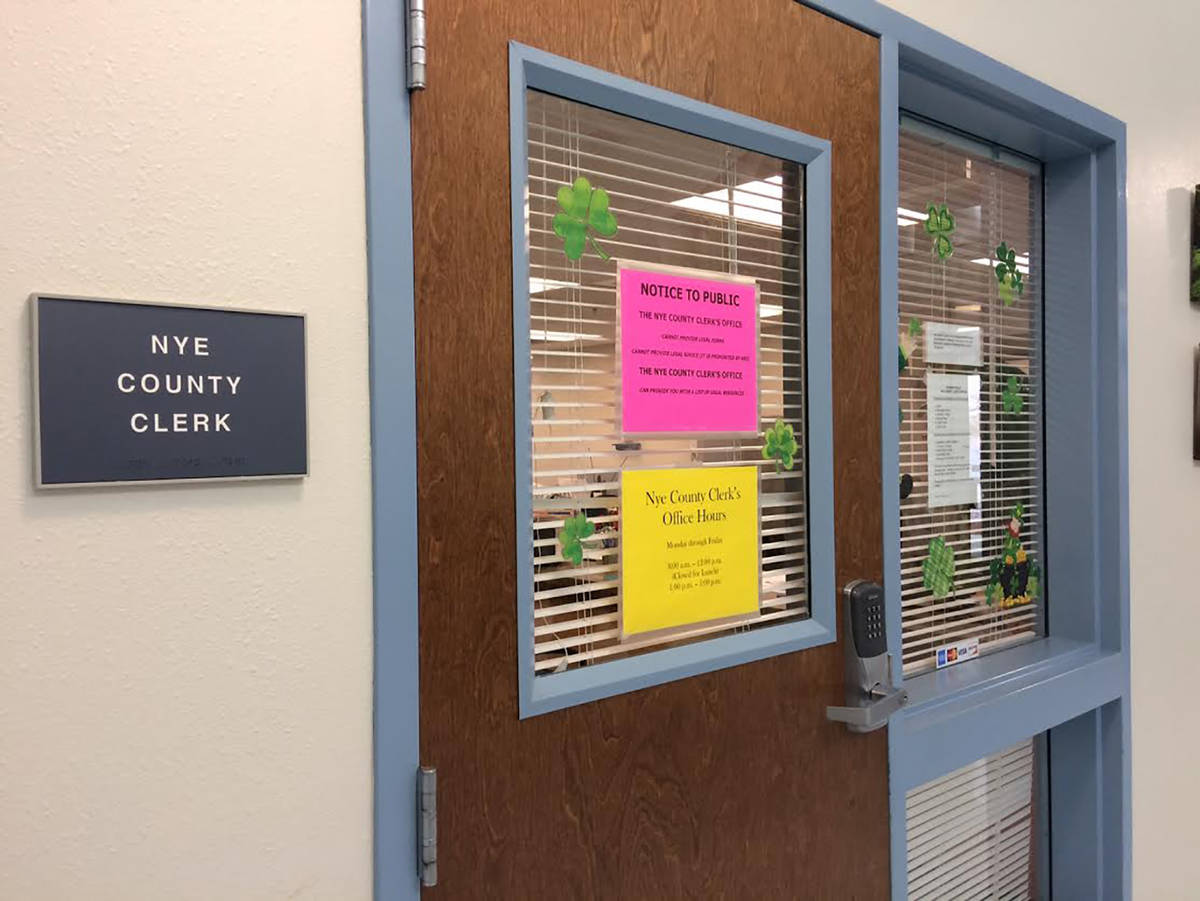 Robin Hebrock/Pahrump Valley Times The Nye County Clerk's Pahrump Office is one county office t ...
