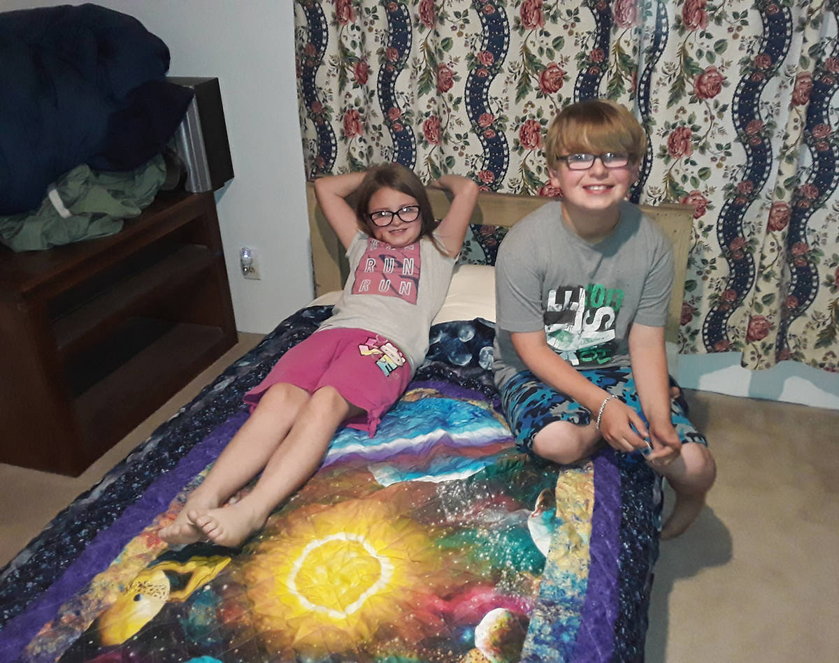 Selwyn Harris/Pahrump Valley Times Taylor Burson, at left, is joined by her brother Devin, afte ...
