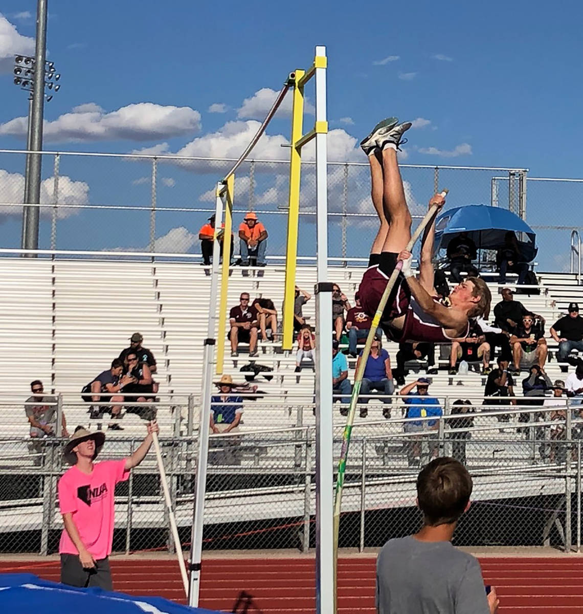 Tom Rysinski/Pahrump Valley Times file Grant Odegard competes in the pole vault during the 2019 ...