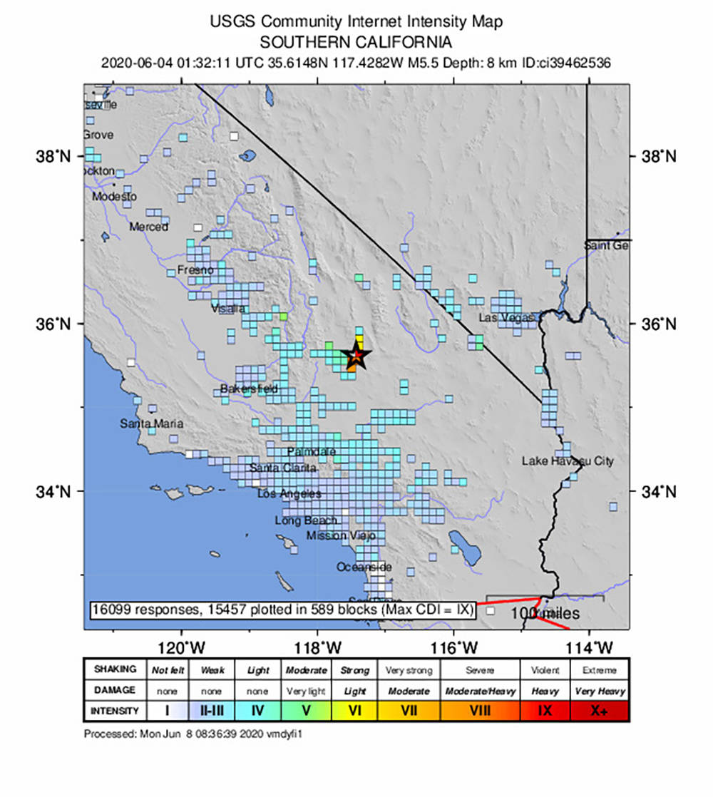 Special to the Pahrump Valley Times Provided by the U.S. Geological Survey, this map shows the ...