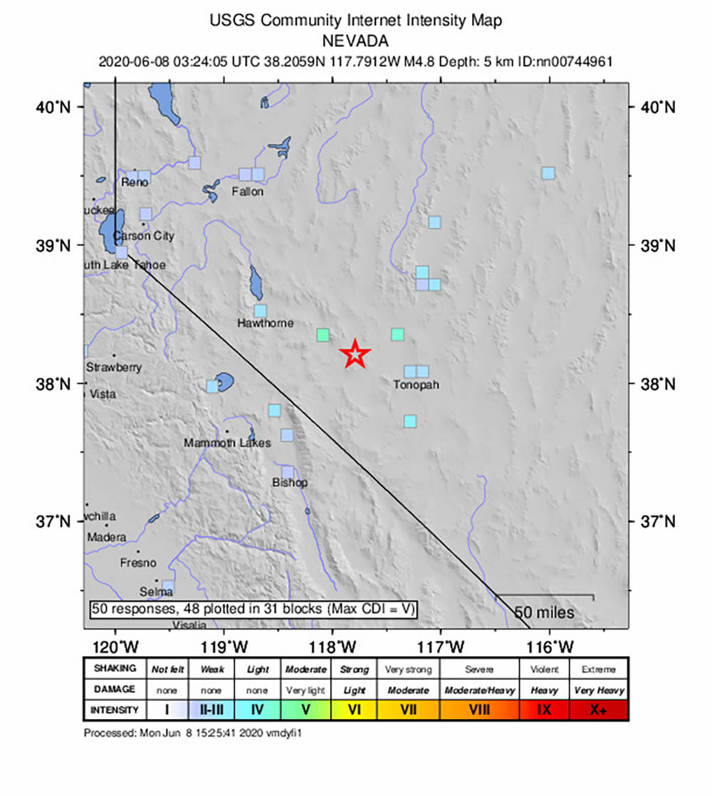 Special to the Pahrump Valley Times A total of 39 earthquakes near Mina, Nevada had been report ...