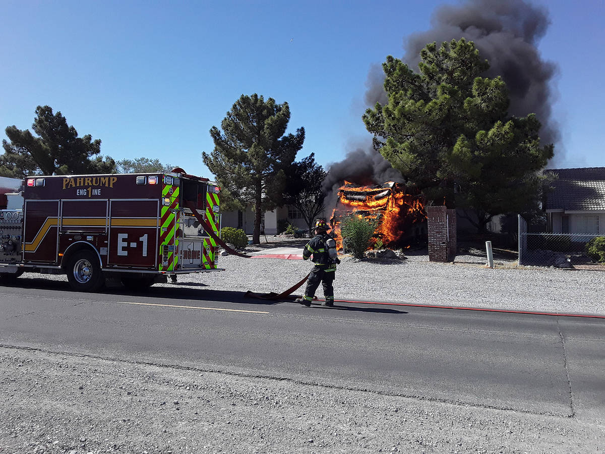 Selwyn Harris/Pahrump Valley Times A motorhome was destroyed during a fire on the 3400 block of ...