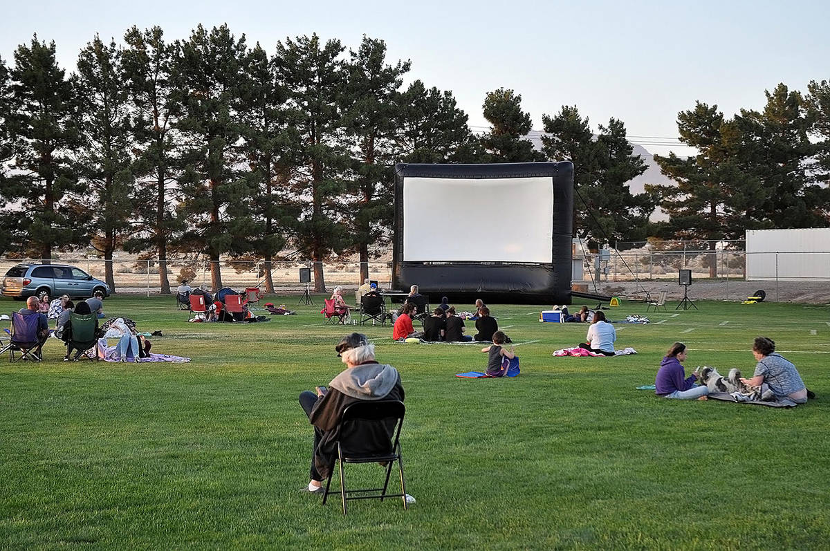Horace Langford Jr./Pahrump Valley Times The films at Movies in the Park are projected onto a l ...