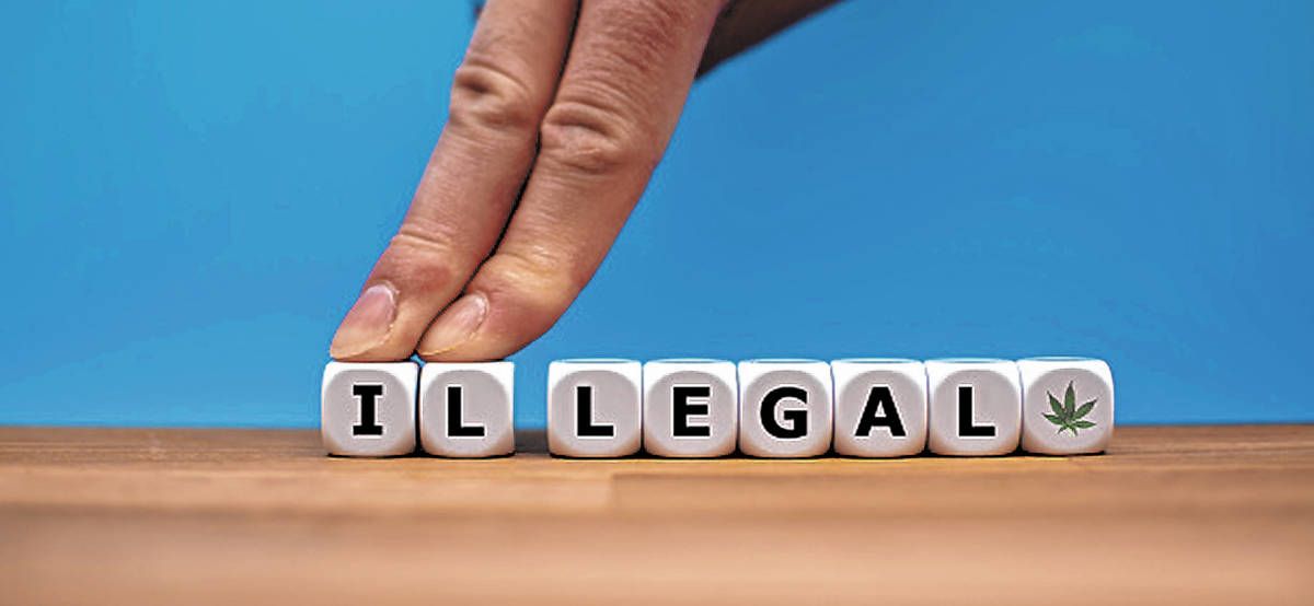 "Symbol for Marijuana Legalization. Dice form the word ""ILLEGAL"" while two fingers pus ..."