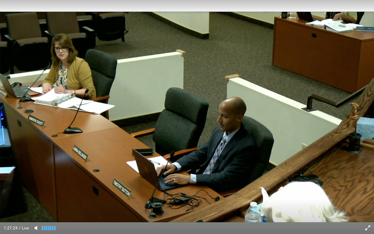 Screen Shot This screen shot was taken during the Nye County Commission's Friday, May 29 budget ...