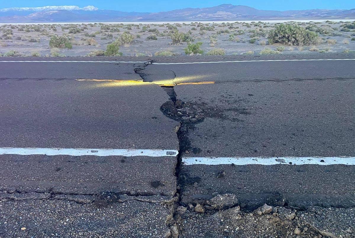 Esmeralda County Sheriff's Office Road separation is evident on U.S. Highway 95 near Coaldale i ...