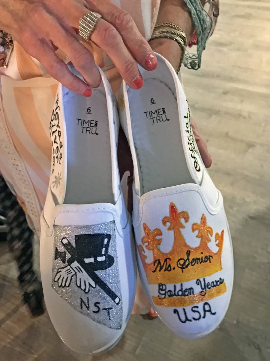 Robin Hebrock/Pahrump Valley Times Shown are a specially crafted pair of shoes presented to BJ ...