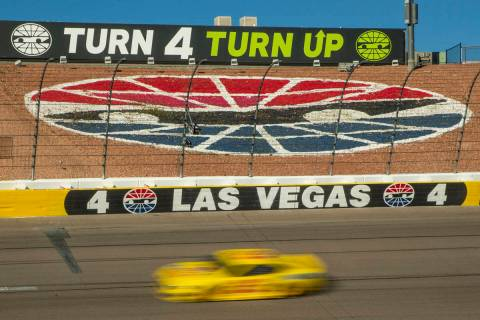 L.E. Baskow/Las Vegas Review-Journal Joey Logano (22) cruises into turn four late in the race d ...