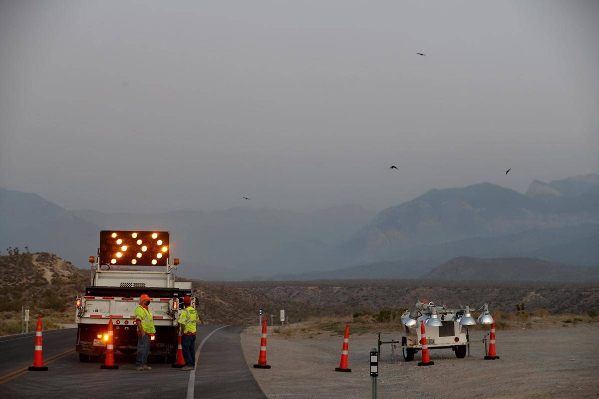 Kyle Canyon Road is closed 9.2 miles up from U.S. Highway 95 as crews battle the Mahogany Fire ...
