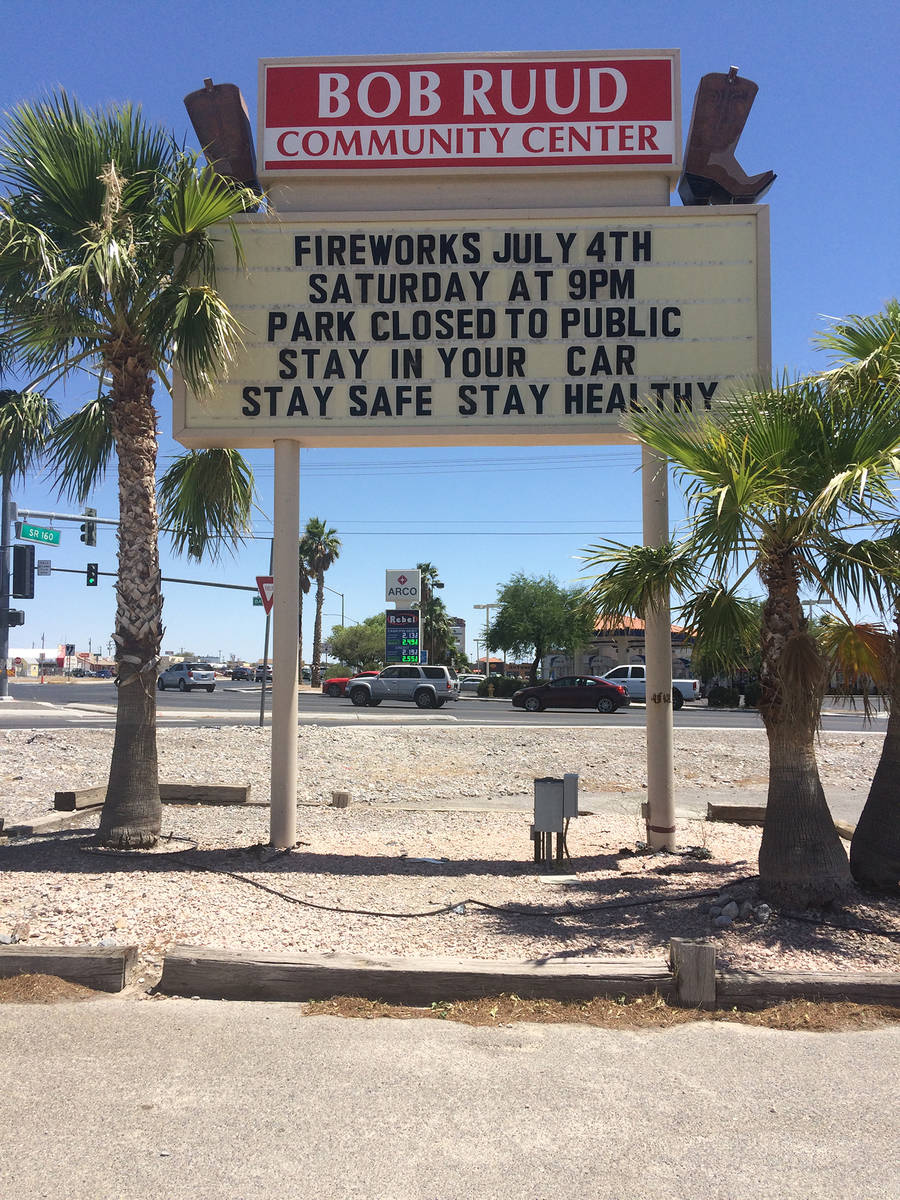 Robin Hebrock/Pahrump Valley Times The town of Pahrump's fireworks show is set for 9 p.m. on Sa ...