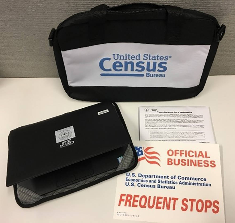 U.S. Census Bureau A look at some of the items that a census taker may carry with them, includi ...