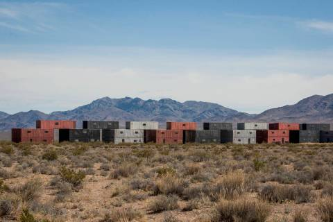 Buildings made from stacked shipping containers await their next exercise at the Nevada Test an ...