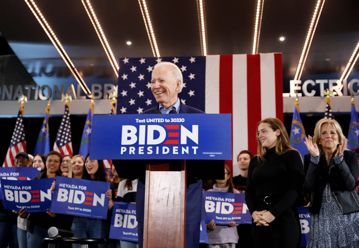 Elizabeth Page Brumley/Las Vegas Review-Journal Joe Biden speaks during a caucus night event at ...