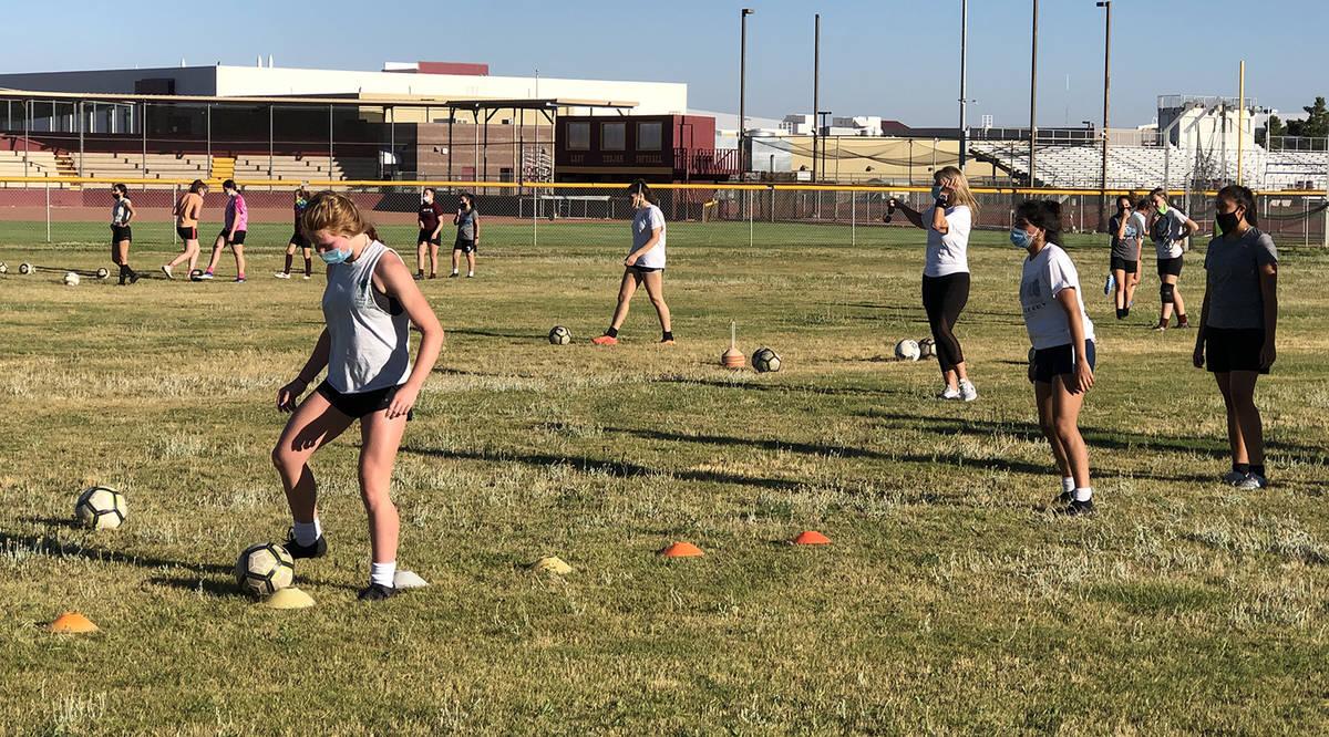 Tom Rysinski/Pahrump Valley Times Pahrump Valley High School girls soccer coach Julie Carringto ...