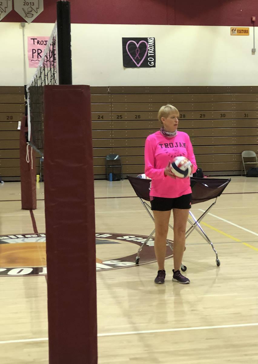 Tom Rysinski/Pahrump Valley Times Pahrump Valley High School volleyball coach Jill Harris expla ...