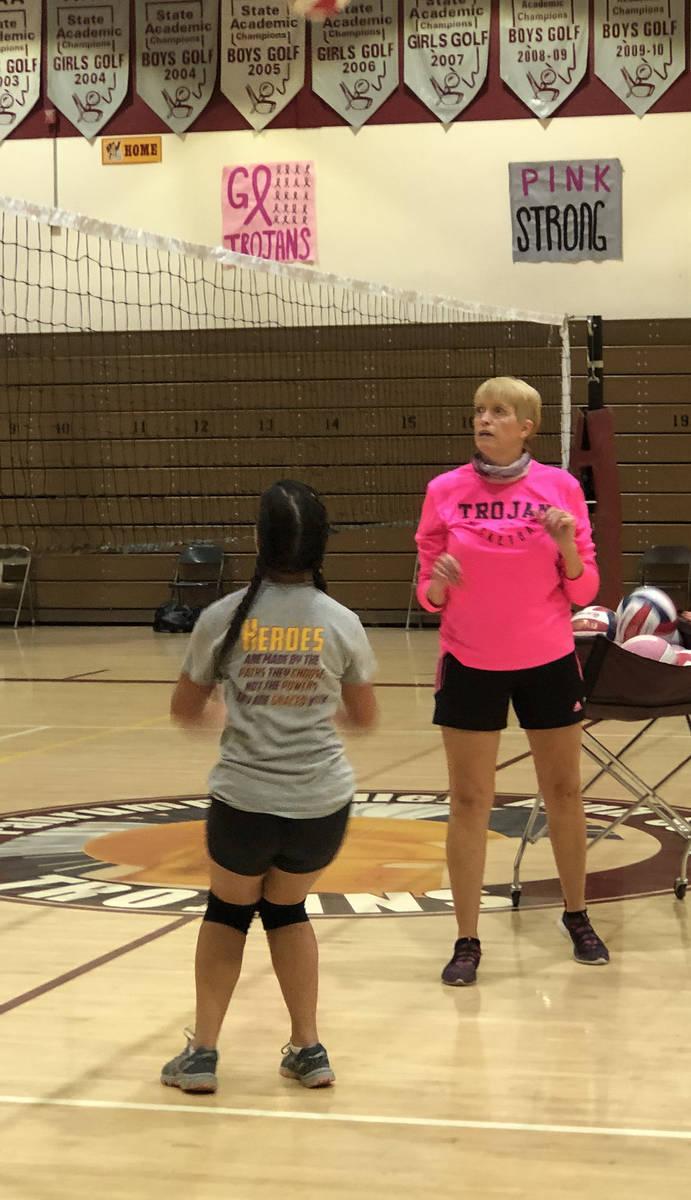 Tom Rysinski/Pahrump Valley Times Coach Jill Harris plays setter during a volleyball drill in t ...