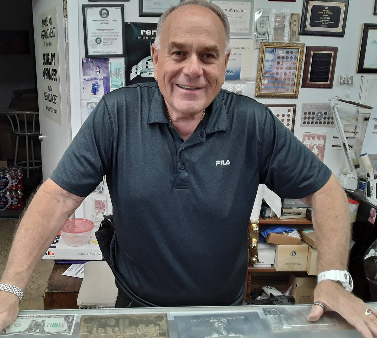 Selwyn Harris/Pahrump Valley Times Pahrump business owner Marty Greenfield is using his jewelry ...