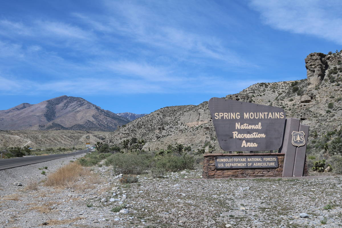 The Spring Mountain National Recreation Area sign is seen outside Las Vegas, Tuesday, April 24, ...