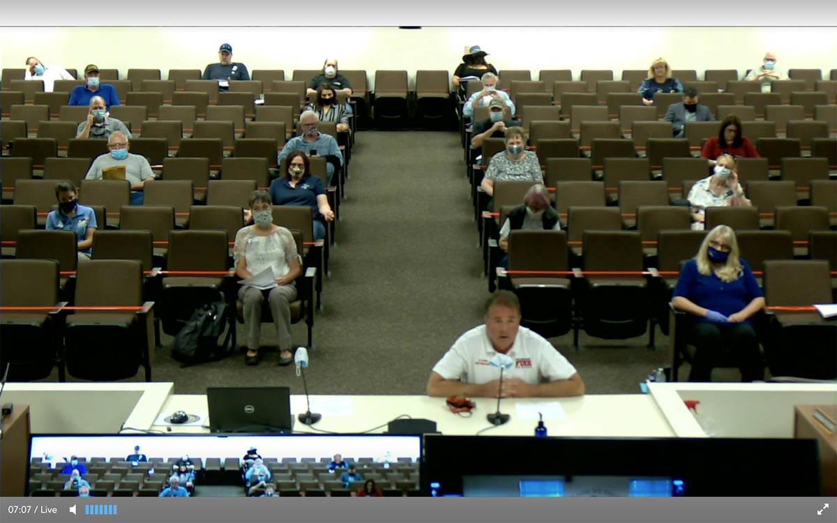 Screenshot This screenshot taken July 21 shows Nye County Emergency Management Director Scott L ...
