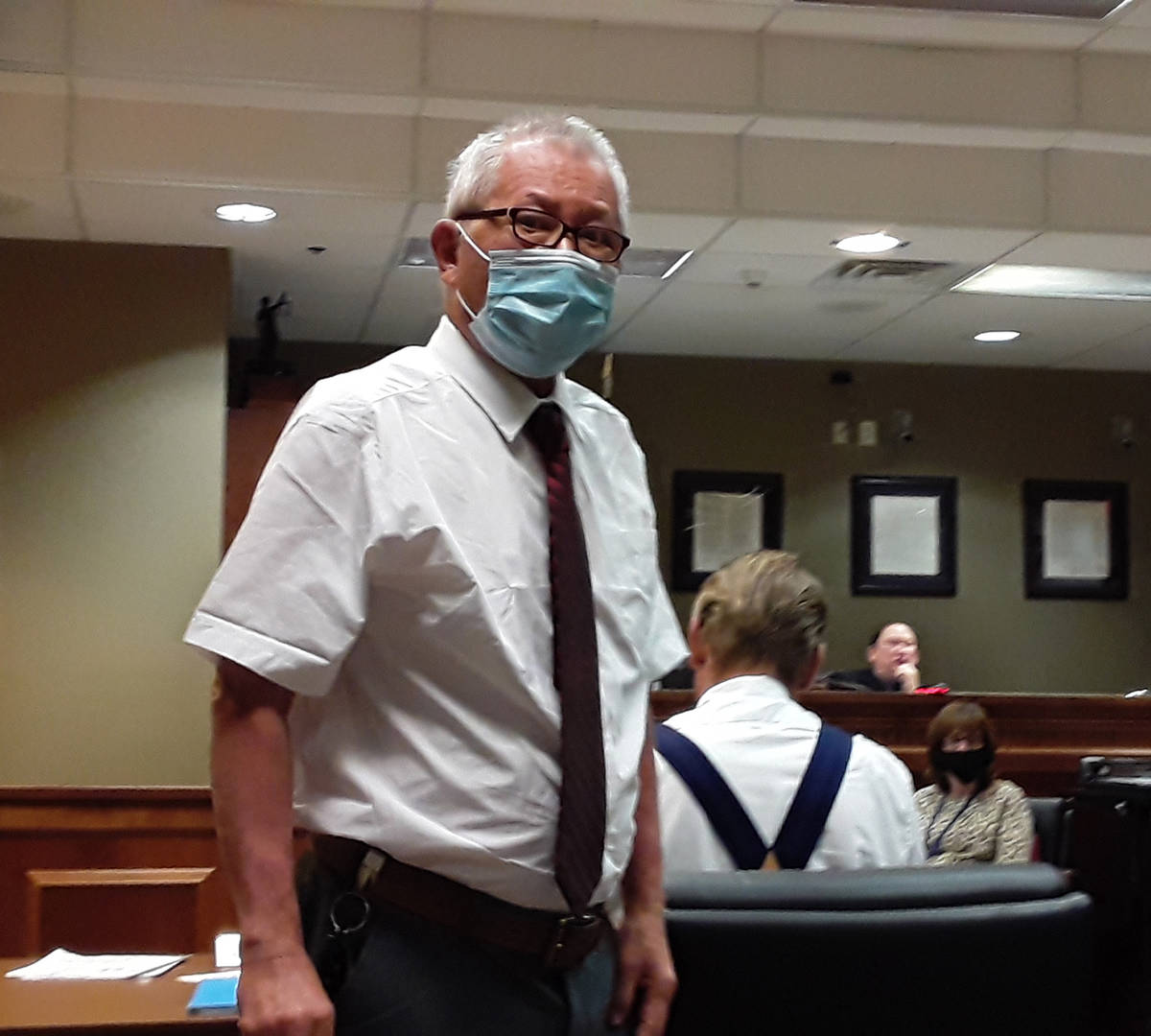 Selwyn Harris/Pahrump Valley Times Phillip Peng, represented by Defense Attorney Brent Percival ...
