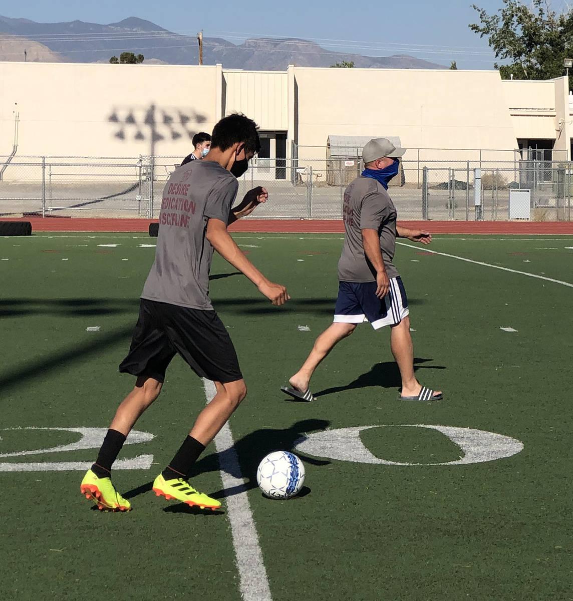 Tom Rysinski/Pahrump Valley Times Chris Roberts, boys soccer coach at Pahrump Valley High Schoo ...
