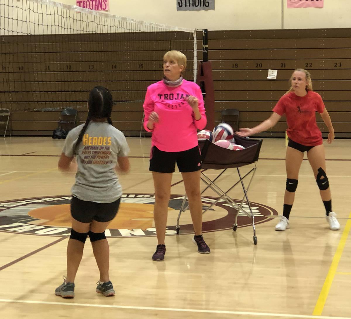 Tom Rysinski/Pahrump Valley Times Pahrump Valley High School girls volleyball coach Jill Harris ...