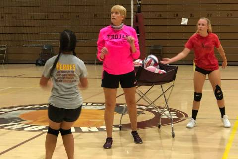 Tom Rysinski/Pahrump Valley Times Pahrump Valley High School girls volleyball coach Jill Harris ...