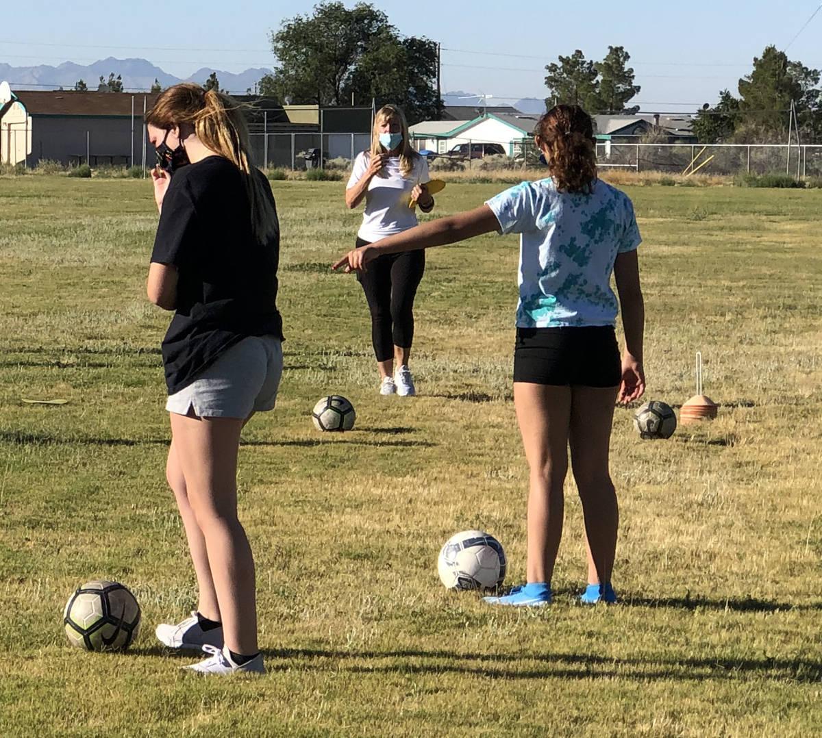 Tom Rysinski/Pahrump Valley Times Girls soccer coach Julie Carrington believes her Pahrump Vall ...