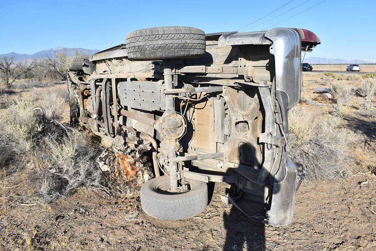 Special to the Pahrump Valley Times Two people died after a rollover crash along Gamebird Road ...