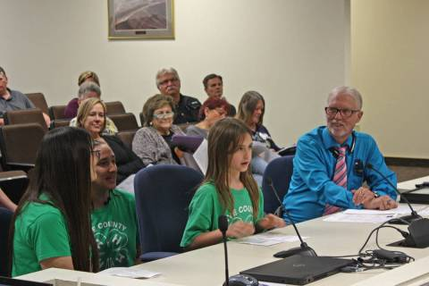 Robin Hebrock/Pahrump Valley Times This file photo shows 4-H member Elaina Domina, second from ...
