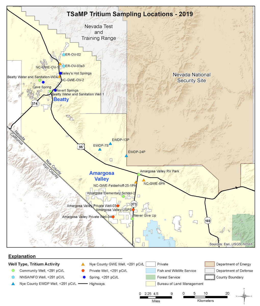 Special to the Pahrump Valley Times This map, provided by Nye County Geoscientist John Klenke, ...