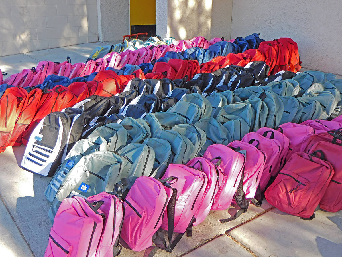 Robin Hebrock/Pahrump Valley Times A total of 470 backpacks pre-filled with a variety of school ...