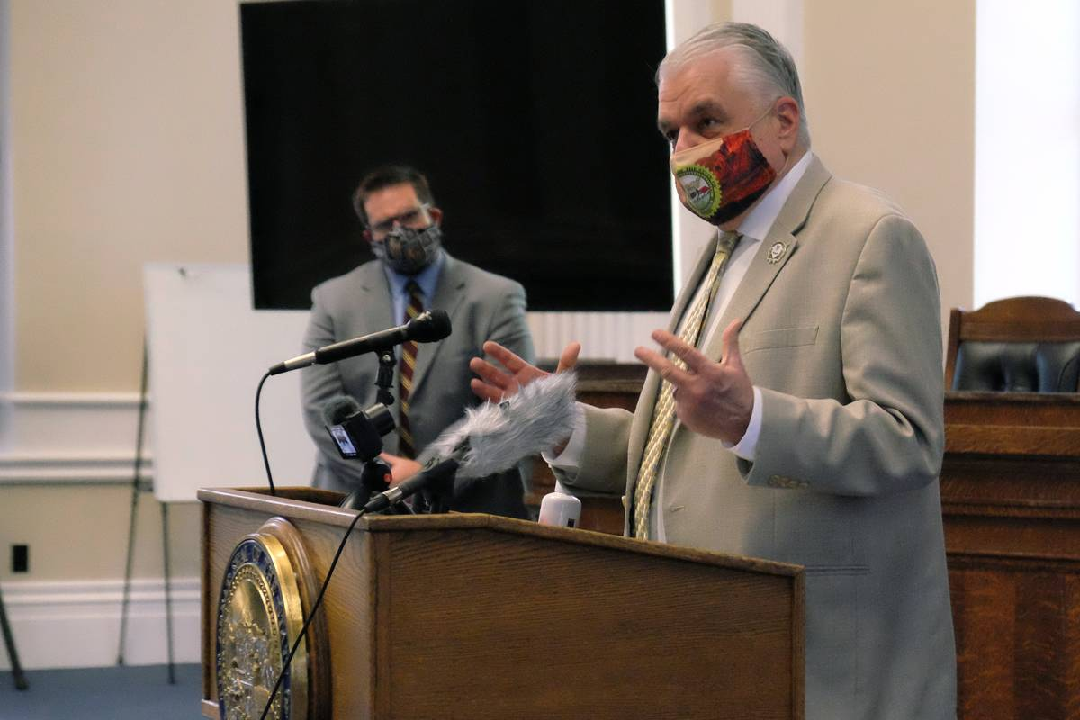Bill Dentzer/Las Vegas Review-Journal Gov. Steve Sisolak at a press briefing at the Capitol Mon ...