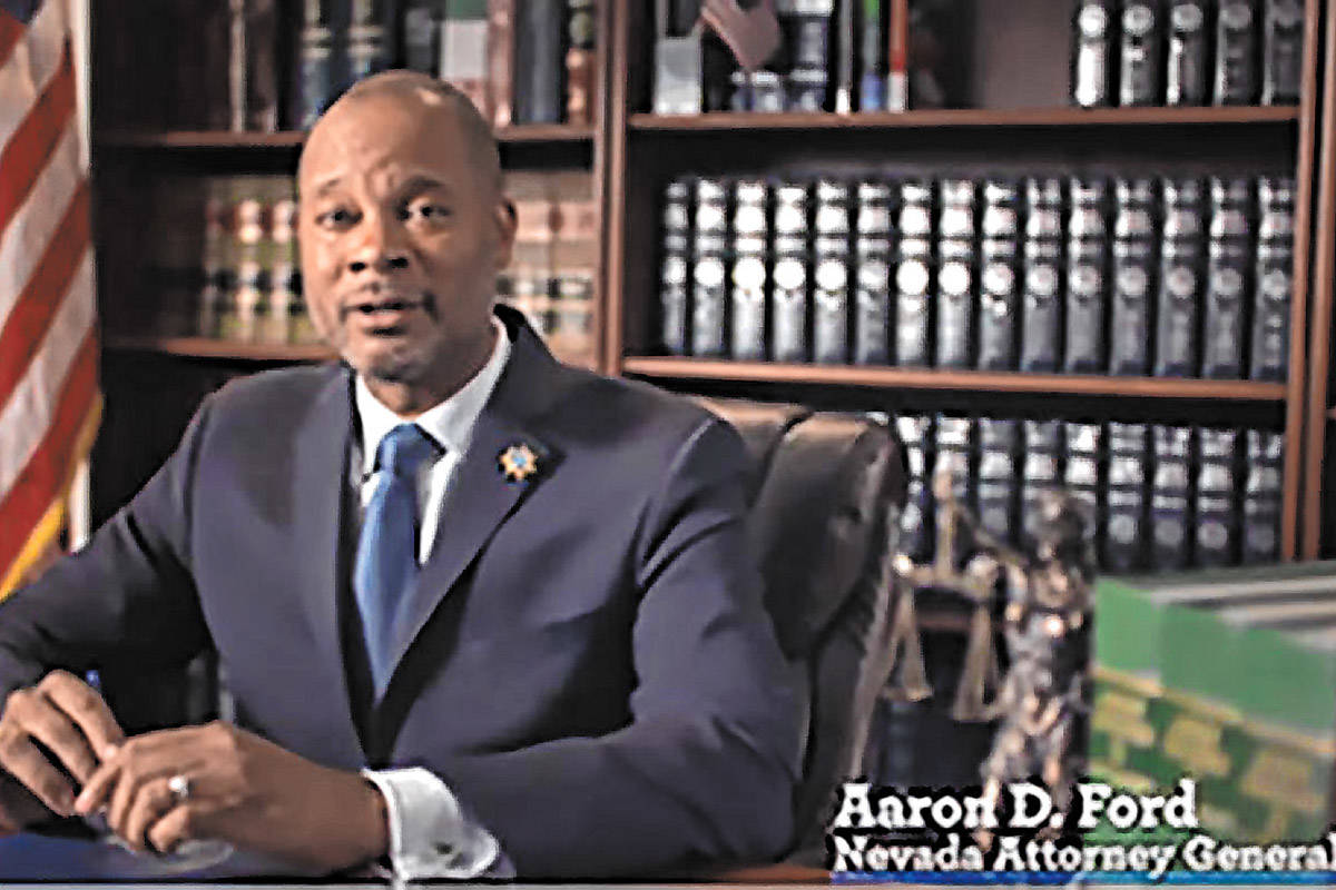 Nevada Attorney General Aaron Ford (Screenshot/Nevada Attorney General's Office) This bipartisa ...