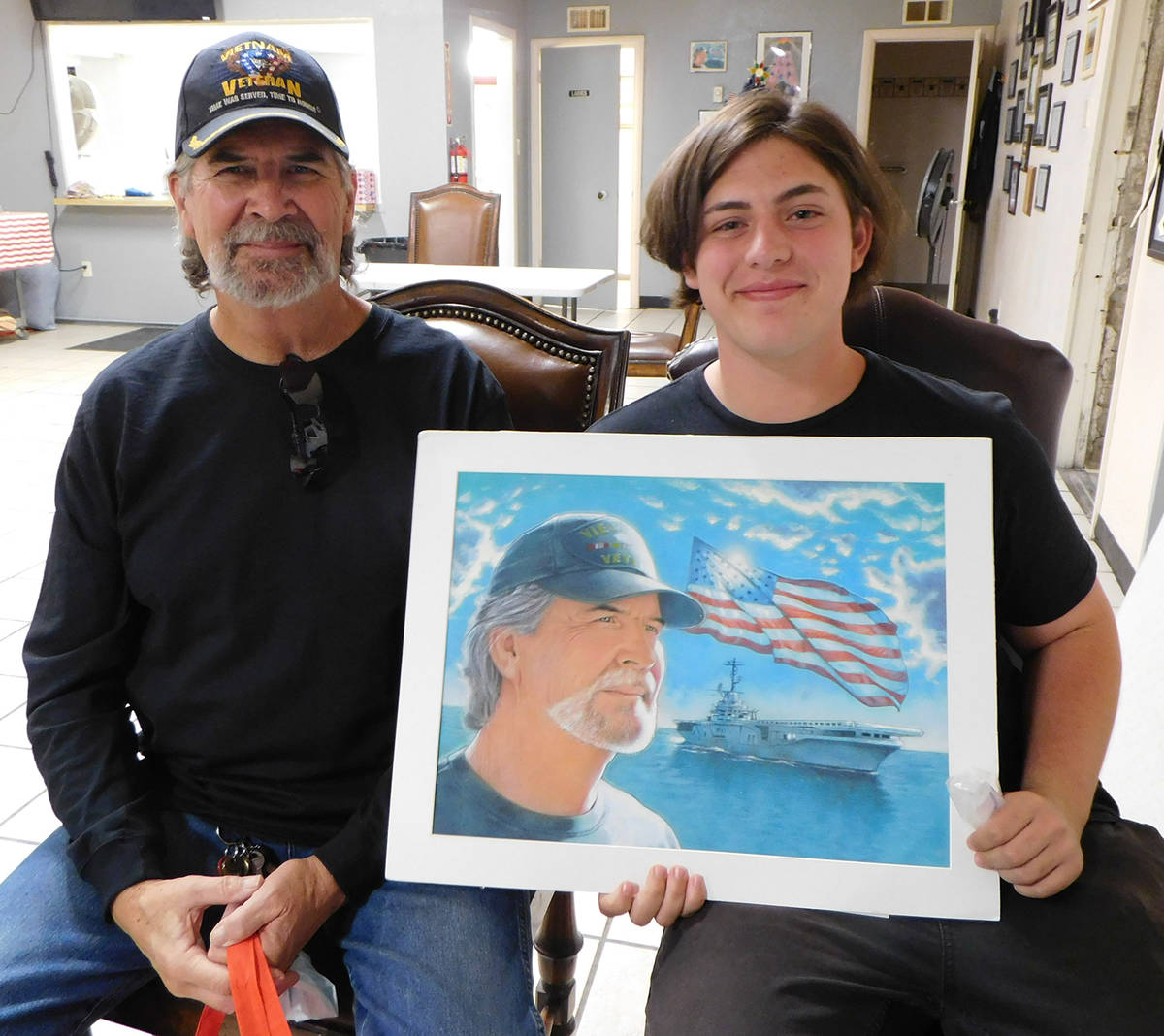 Robin Hebrock/Pahrump Valley Times Local student Larky White poses with his grandfather, Gus Wa ...