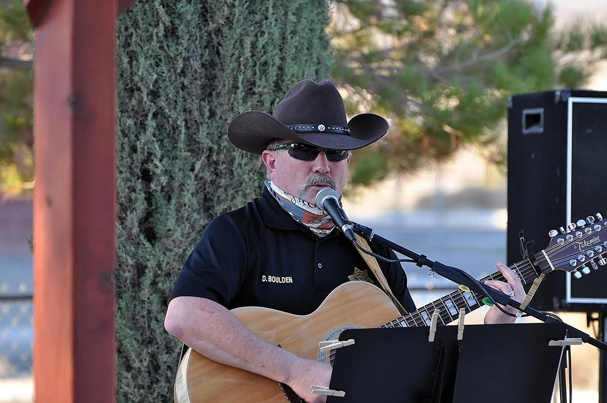 Horace Langford Jr./Pahrump Valley Times Adding his voice to the local Purple Heart Day observa ...