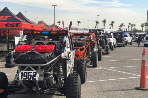 Tom Rysinski/Pahrump Valley Times Vehicles line up Aug. 14 for technical inspections before at ...