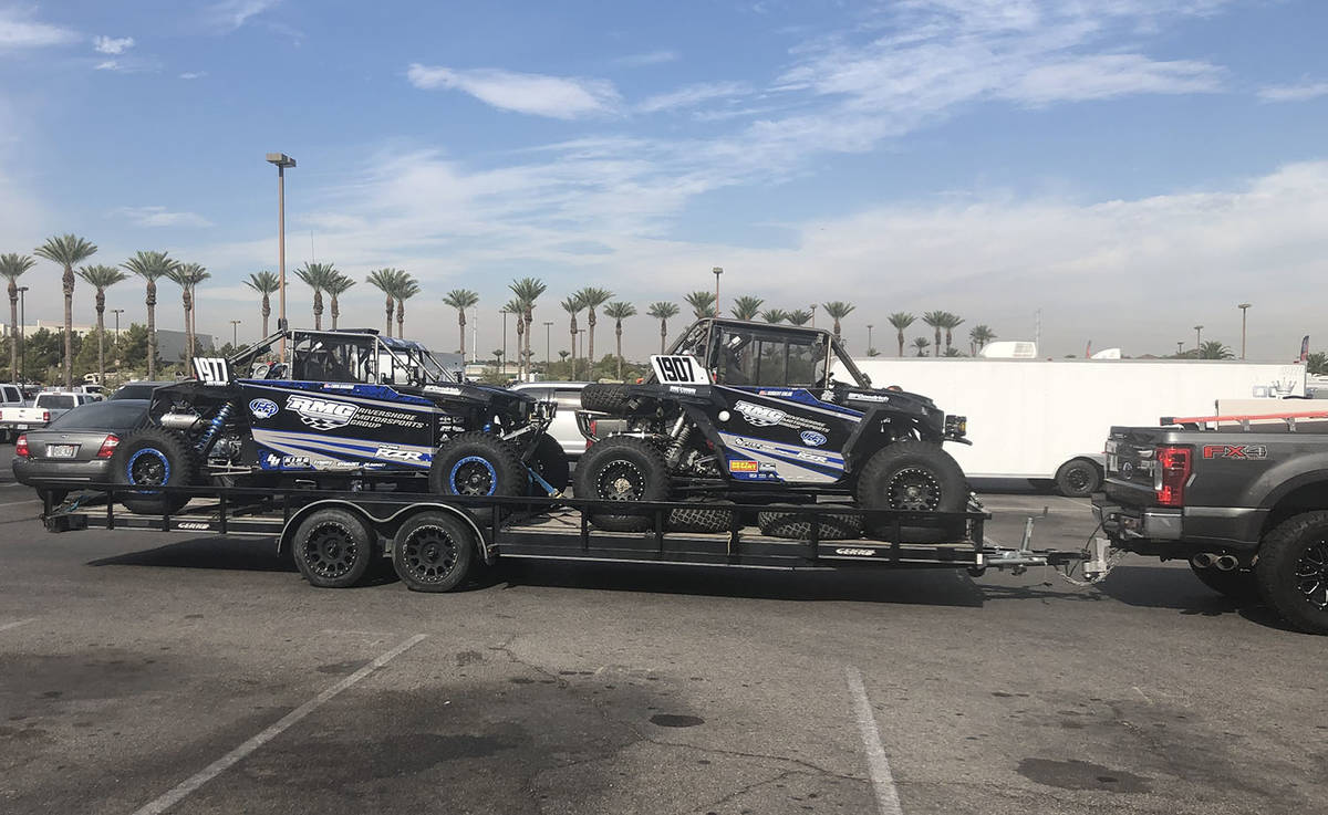 Tom Rysinski/Pahrump Valley Times Two vehicles are towed into the parking lot at Sunset Station ...