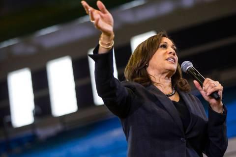 U.S. Sen. Kamala Harris, D-Calif., a Democratic presidential hopeful, speaks during a campaign ...