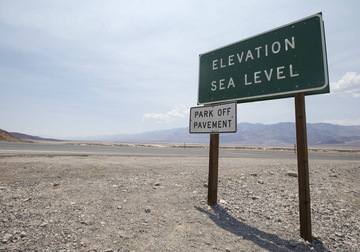 Richard Brian Las Vegas Review-Journal A sign marking sea level is seen on the side near the I ...