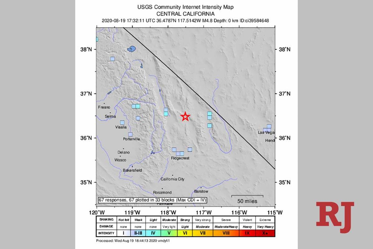 Locator map of 4.8 earthquake in Death Valley National Park in California on Wednesday, Aug. 19 ...