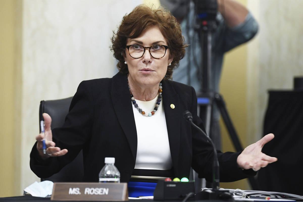 In a June10, 2020, file photo, Sen. Jacky Rosen, D-Nev., speaks during a Senate Small Business ...