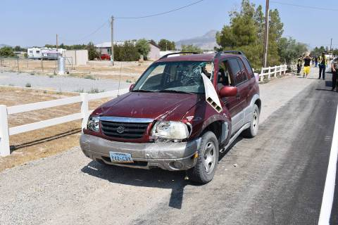 Special to the Pahrump Valley Times A driver was nearly impaled by a section of fencing after a ...