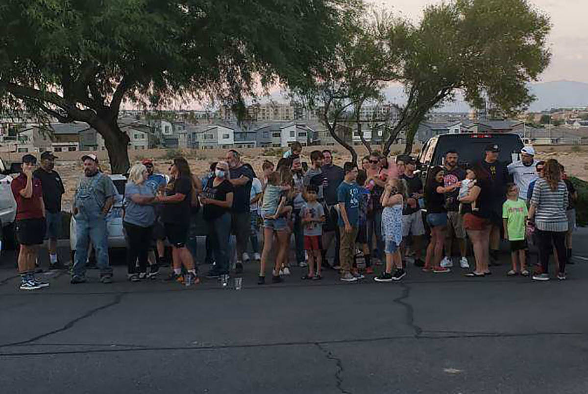 Allan McClard/Special to the Pahrump Valley Times Family and friends of Dusty Park gather Aug. ...